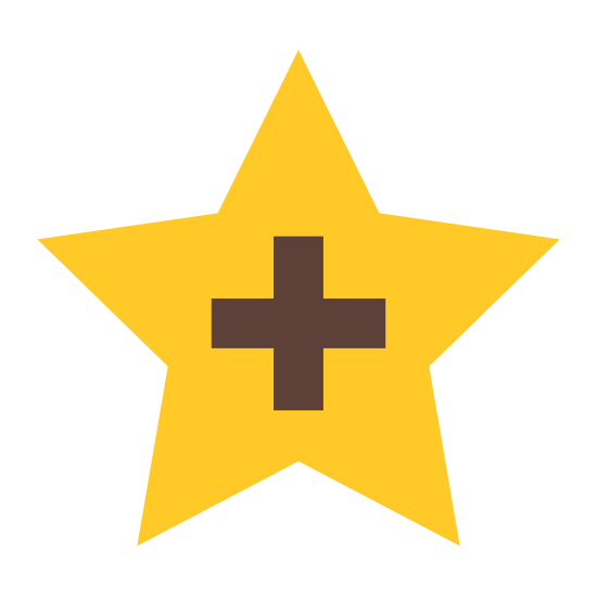 """Добавить в избранное icon. There is a """"plus"""" sign which is like a cross, but the sides are even, centered inside a five pointed star with all sides that are equal. Both are outlined in black. The star is """"hollow"""" otherwise"""" in that there is empty space surrounding the icon. Everything is straight (there are no curved lines)."""