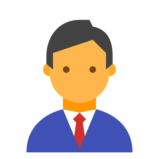 男管理员 icon. The image is of a male person. The man has short hair and ears but does not have a face. The only part of the body shown besides the head is the upper shoulders. The person is wearing a collared shirt with a tie.
