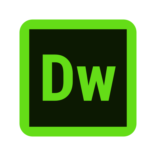 Adobe Dreamweaver icon. The icon is the shape of a perfect square. Inside of the square at the direct center of it are the letter D and W. The letter which is first is capitalized and the letter W which is second is not.
