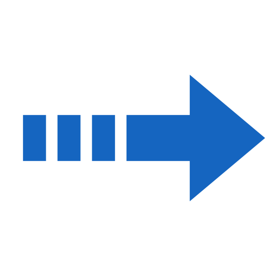 Postęp icon. The icon is shaped like a horizontal arrow with the pointed end aiming towards the right. At the left of the arrow shape is a sequence of four horizontal dots that are lined up with the center of the arrow shape.