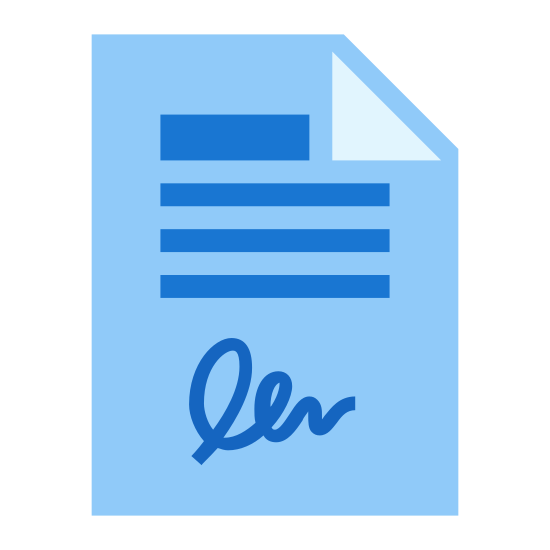Umowa icon. This is a piece of paper with the top right corner folded over top of it. It has multiple lines of writing from top to bottom. After all of these lines of writing there is a cursive style signature line of text.
