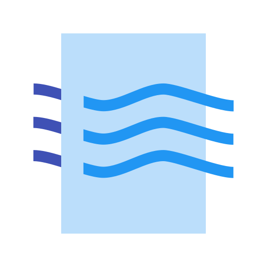 Air Quality icon. It's a logo of a rectangle in portrait orientation with curved edges. Coming through the rectangle from left to right are curved line waves. There are three of them and they curve down then up then down.