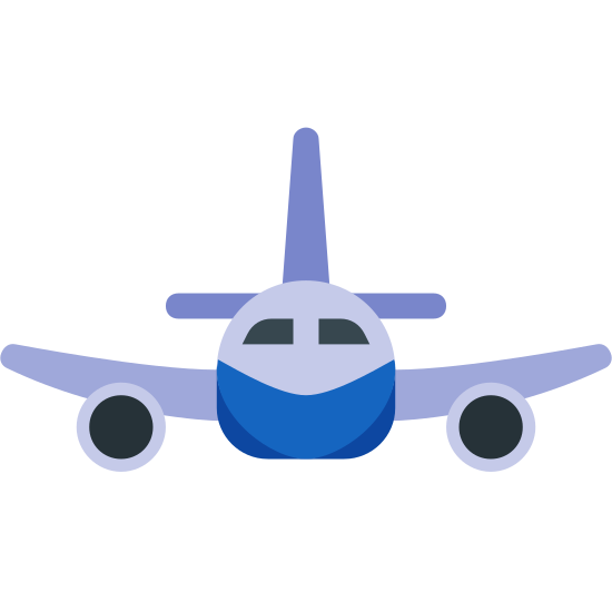 Airplane icon. The front view of an airplane is recognizable by it's tail, wings, and jet engines. A small circle with what looks like two eyes and a mouth are in the center of a logo. Extended from the circle are two wings on either side and a tail above it. The two wings have two tiny circles underneath for jet engines.