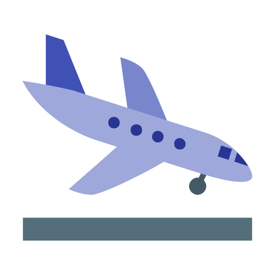 Aterrizaje icon. This is a picture of an airplane that is flying downwards towards the right. The tail of the plane is pointed upwards, and it looks like it's about to land. You can see the bottom wheel already out in the front of it.