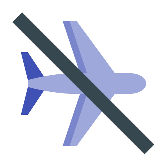 "飞行模式关闭 icon. The ""Airplane Mode Off"" icon is an outline of an airplane from an overhead perspective. There is a single line crossing in front of the airplane, drawn diagonally downward from left to right."