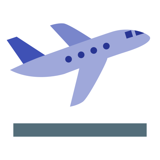 Airplane Take Off icon. It's an airplane. The body of the cabin is long and narrow. The plane has two winds on each side, both triangular in shape. The back of the plane had a upwards tail that is taller than the rest of the plane.