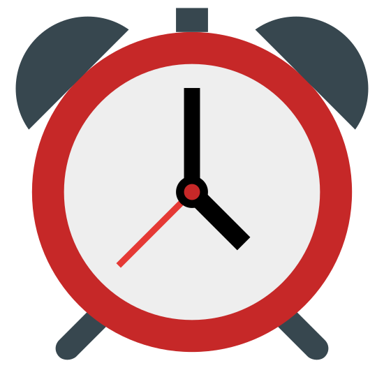 Alarm Clock icon. It is round with two half circles on both sides of the top. The bottom has legs and there is a line pointing at noon and 9 pm.