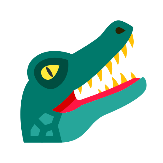 Alligator icon. A drawing of a alligator head. Not realistic. More cartoon like. Drawing is from the side rather than the front, showing only one eye, one nostril and set of teeth as well. Drawing is also with mouth open.