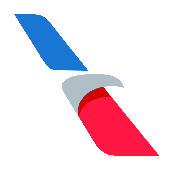 American Airlines icon. This is a picture of the wing of an airplane. in the center of the wing is a triangular shape, almost like a fin, sticking out to the right side of it. the wing itself is sticking upward and slanted to the left.