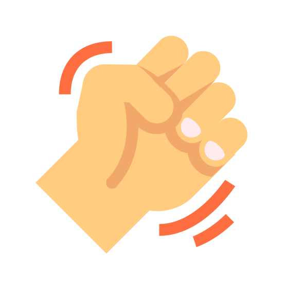 Fist icon. This icon shows an outline of a fist up to the wrist. All of the fingers and thumbs are folded in to indicate that it's closed. There are lines on either side of the hand to indicate that it's shaking out of anger.