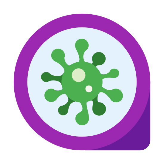 Skaner antywirusowy icon. The icon is a picture of the logo Antivirus Scanner. The icon is what appears to be a large circle with a small arrow shape at the bottom right on the outside. The icon has a picture of something that I can only describe as a microscopic germ in the center.