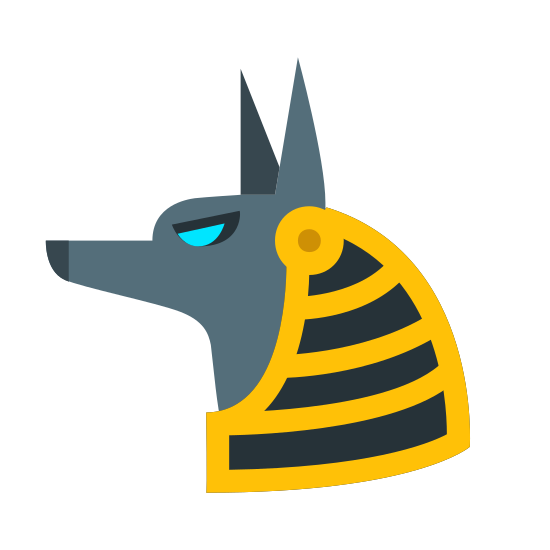Anubis icon. It looks like an animal like a fox or a wolf looking toward the left. The ears are sticking up and pointed, the eye looks like a crescent moon and gives it a sly look.