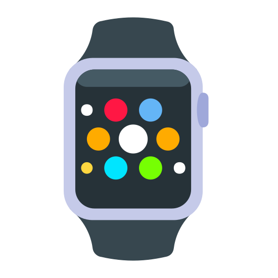 Aplikacje Apple Watch icon. The icon is shaped like a vertical rectangle with 7 circles and 2 dots inside it that slightly form a circle shape with the biggest circle at the center. At the top and bottom are two rectangle shapes that slightly slant outwards which connect to the main rectangle shape.