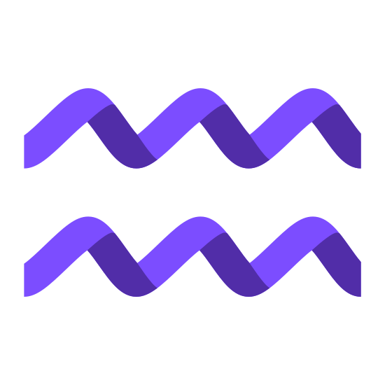 Aquarius icon. There are two identical smooth and wavy horizontal lines. Each line starts by going upward before reaching a rounded point and then it goes back down again until there are three rounded points and then making a final slope downward.