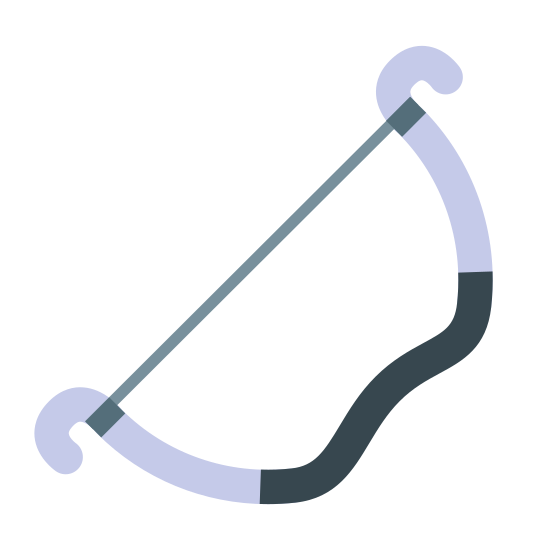 Archers Bow icon. The logo is a bow from a bow and arrow set. The long straight end of the bow extends from the bottom left to the top right, and the curved end of the bow runs below it, curving out and then back towards the bow string in the center.