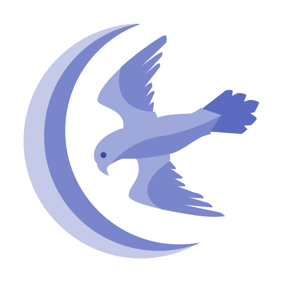 Arryn House icon. The Arryn House logo is composed of a crescent moon on the left side that's empty part is on the right. There is a bird then on the right side flying into the little slot of the crescent moon.