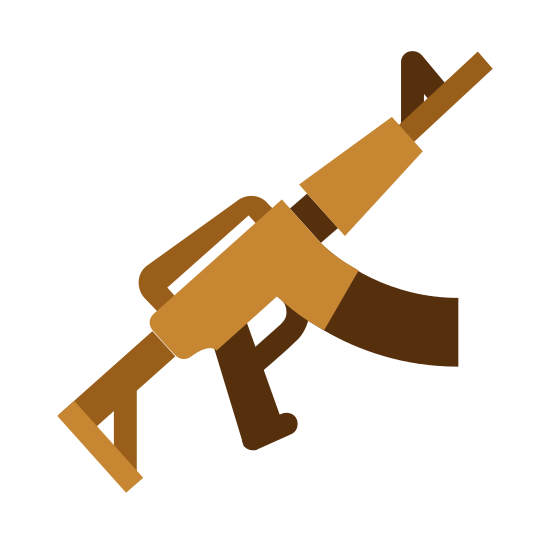 Assault Rifle icon. This icon represents an assault rifle. It is straight at the bottom leading into a long barrel. On the bottom it has two handles with a round trigger between them. It has a small triangle on top towards the top of the barrel.