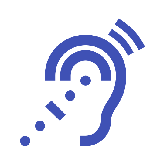 Systèmes d'écoute assistée icon. This logo is shaped like a an ear kind of. There are some dots in the ear and leading up to the ear from the bottom left. To the top right there are a couple of lines that are representing noise of some kind.
