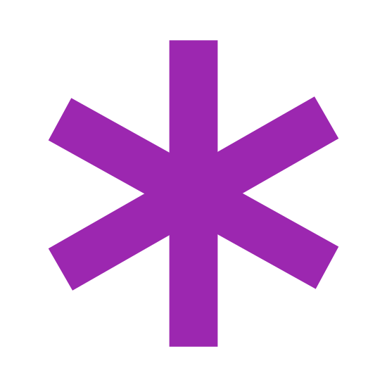 Asterisk icon. This is a logo for what an asterisk is. It is a star-looking shape. It's an outline of a shape, which has six points. Each 'arm' of the star is the same length.