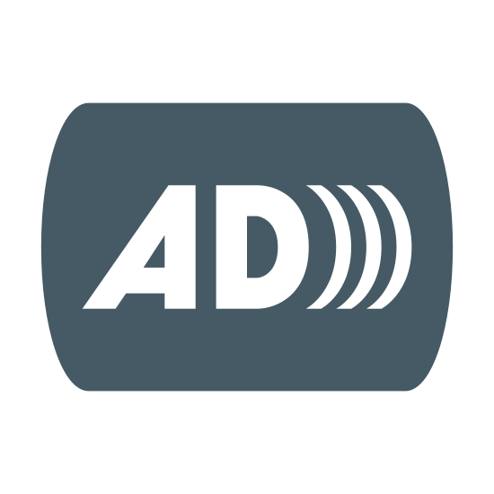 Audio Description icon. This icon is depicting the letters AD with three curved lines emanating from it as if to indicate sound waves. The letters of the 'A' and 'D' are outlines and rest in the center of a curved rectangular shaped object.