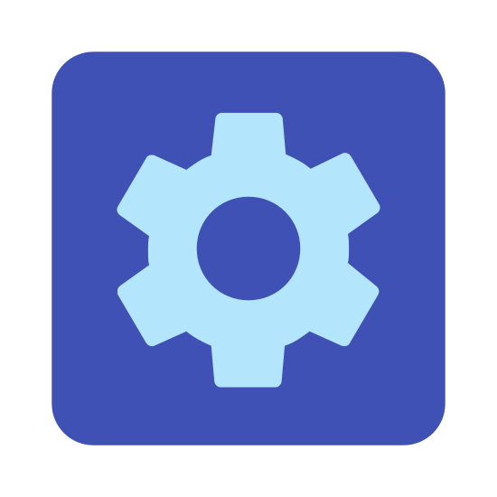 Automatic icon. The Automatic icon, a square with edges curved instead of pointed, with a gear inside. The gear takes up most of the profile of the square, and seems to be the smaller cog that fits next to a larger one, based on the spacing of the teeth.