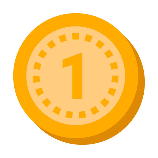 """Durchschnittlich icon. This icon is a small circle with another circle behind it.  The first circle has the number """"1"""" in the center of it.  You cannot see the circle behind the first circle.  It looks like it could be a 3D cylinder."""