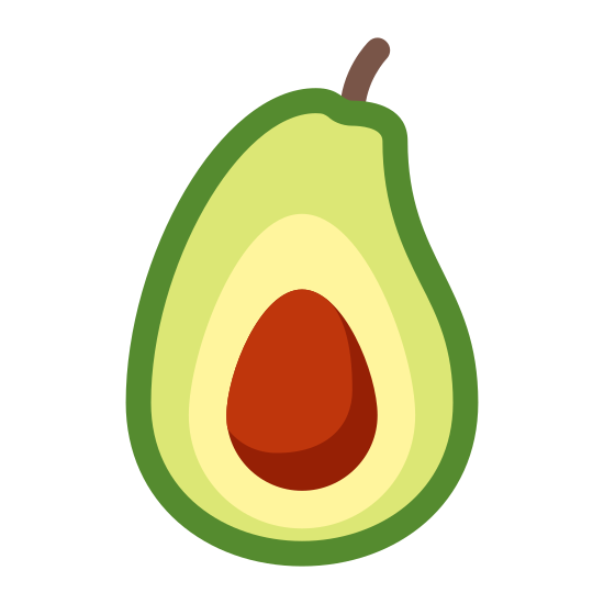 Awokado icon. It's the outline of an avocado that has been cut in half.  The avocado is oval shaped.  In the middle of it is it's pit which is also oval shaped.