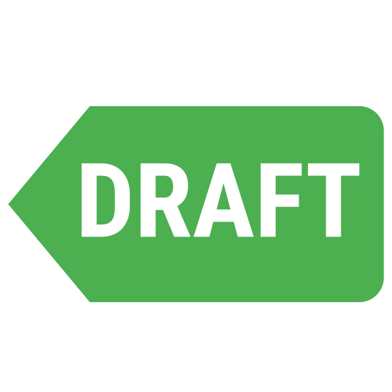 Powrót do szkicu icon. The icon Back to Draft is a large rectangle that ends in an arrow on the left side. Inside the rectangle is the word DRAFT that is in all capital letters.
