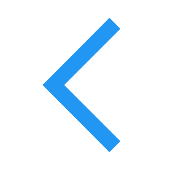 Back icon. It's a logo for a back button. It is made up of two perpendicular solid black lines that come to a point. They point to the left of the observer.