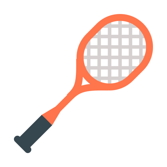 Racket icon. The icon looks like an outlined tennis racket shape. It is at an angle, with the handle pointing to the lower left. The paddle part of the racket is made up of seven lines crossing the shorter part, and four lines down the longer part towards the handle, giving the appearance of mesh.