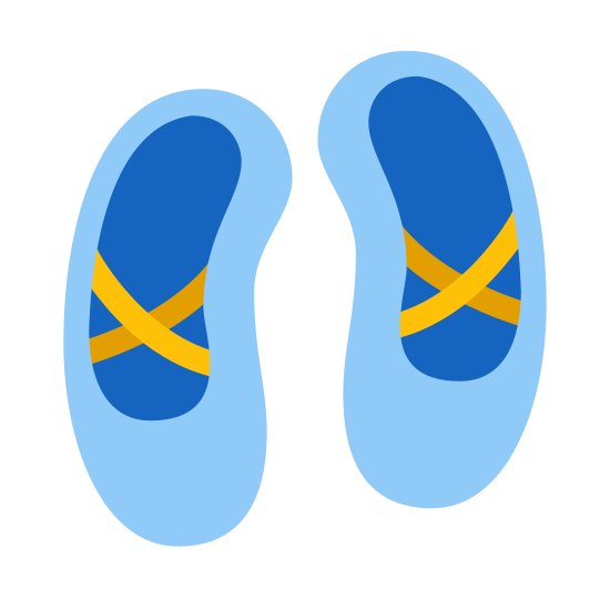 Ballet Shoes icon. The icon is a pair of ballet shoes. It has a decorative cross shaped pattern around the surface of the top of the foot.