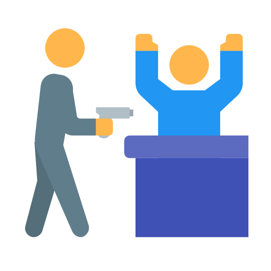 Napad na bank icon. This is a robbery. There are two people. One is pointing a gun at the other person with their hands up.