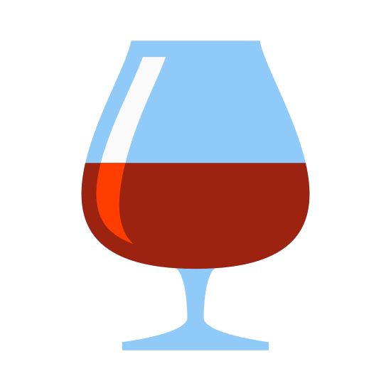 Bar icon. The icon is a wine glass. The glass is a classic tulip glass that you would put wine into, underneath the tulip part that would hold some wine or other liquid in it is a narrow stem. Within the glass is some liquid.