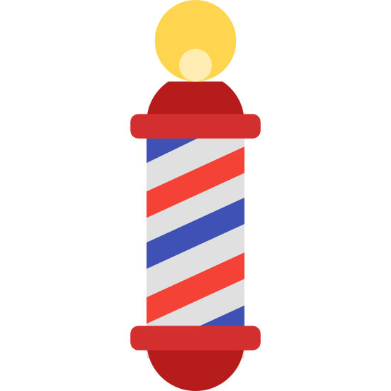 Barber Pole icon. The classic image of a two-dimensional barber pole. A long roman column diagonally striped, topped by a single circle. The ball is approximately the size of a fifth of the length of the column, and occupies the middle third of the pole it rests upon.
