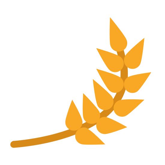 Ячмень icon. The icon is shaped like a plant stem with leaves on it. Staring from the bottom if curves to the right and then upwards. It has 13 leaf shapes that look like tear drops.