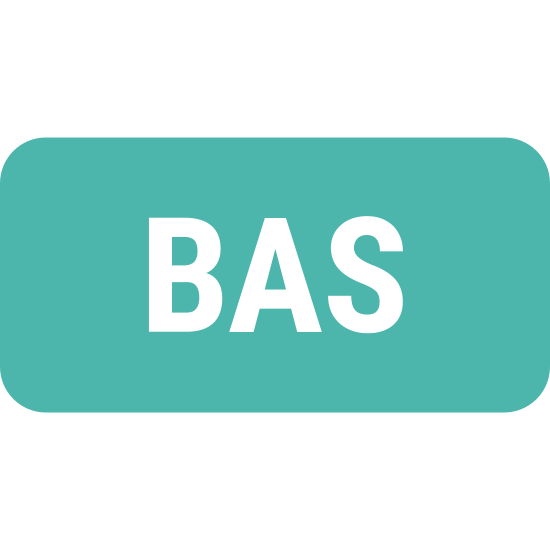 BAS icon. The icon is a square. The icon has the letters 'BAS' in the center of the square.