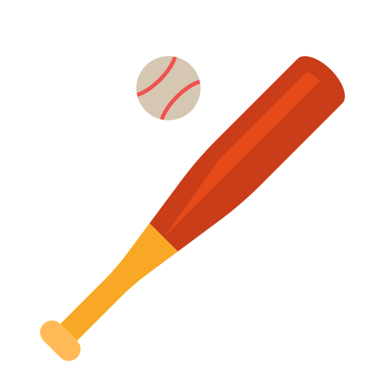 Baseball icon. It's an image of a baseball and bat. The bat is a tube with one end being thicker than the other, gradually becoming thinner from halfway down. On the bottom of the thin end is a oval representing a handle. Next to the bat is a circular ball with lines through it.