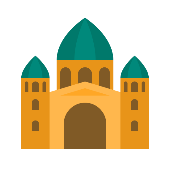 Bazylika icon. The icon is a logo of Basilica. It is a shape of a religious structure, or mosque.