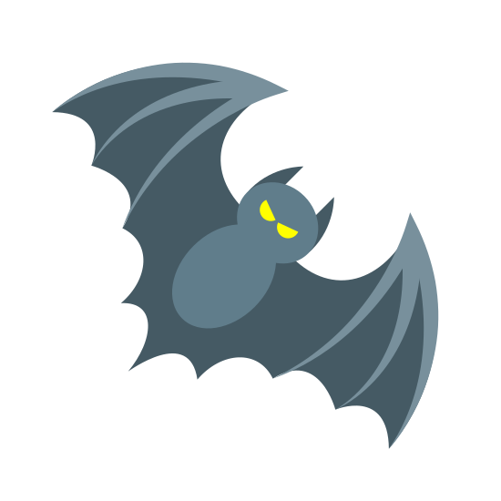 Nietoperz icon. The Bat is a symmetric design. It has a head, a body and two wings. The wings are rounded. The bottom part of the bat has rounded lines making the wings connect to the bottom.