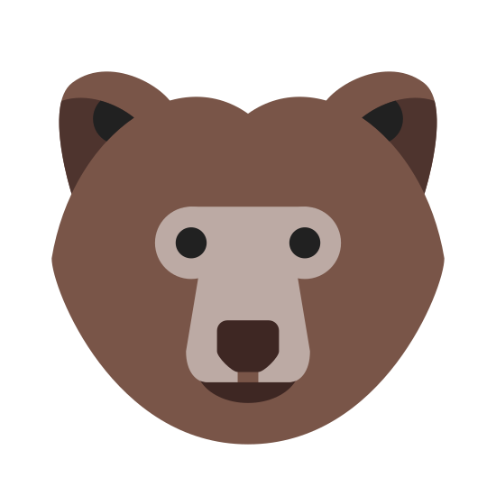 Bear icon. This is a picture of a bear with no mouth. He has a large snout that comes downward and two small eyes. His ears are also pretty small and are circular. The bottom of his face is much wider than the top of his head.