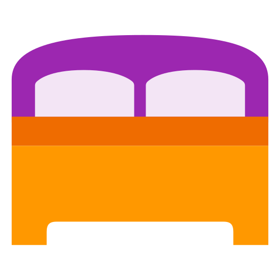 Спальня icon. The image is a single bed. There is a headboard and foot board. The boards are both plain with no embellishments. There are two pillows on the bed. Nothing else is on the bed.