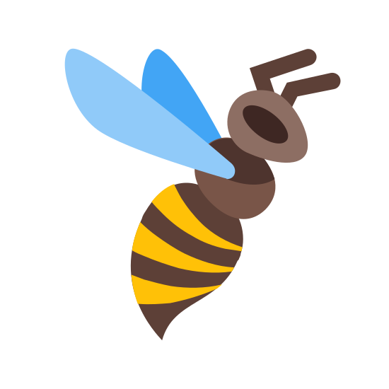 Bee icon. The icon is depicting a bee. The bee is facing towards the right and has wings, antennae, and a stinger. On the bee's abdomen are three horizontal lines segmenting it.
