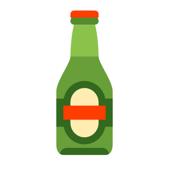 Beer Bottle icon. The beet bottle is shaped like a glass bottle with a large oval in the middle. Two smaller rectangles are to the side, indicating that the bottle has a label on it.
