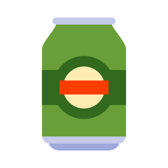 Puszka piwa icon. The general shape is a cylinder that is taller than it is long and slightly tapered at the top. There is a flat rectangle on top with rounded corners. There are two lines that run horizontally along the cylinder with a small gap in each one.