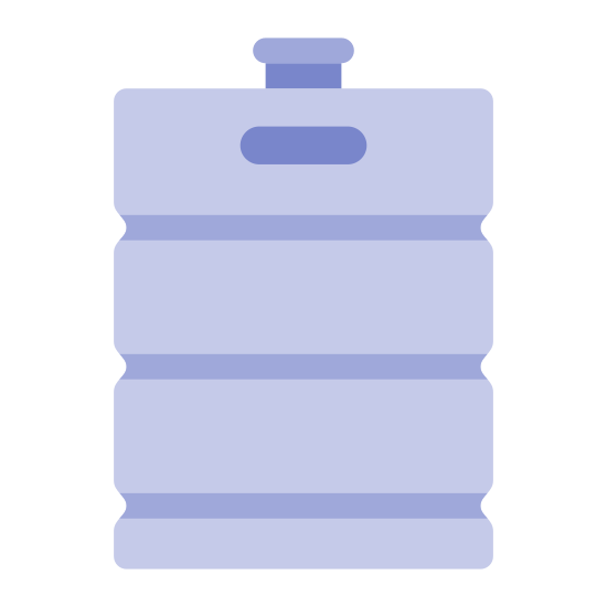 Beer Keg icon. This keg is a large metal cylinder that has a tap that protrudes from the very top of it. Just below the top rim of the cylinder there is a small cut out that creates a handle to carry the keg from. At the bottom of the keg there is a small ring platform that prevents the keg from tipping over sideways.