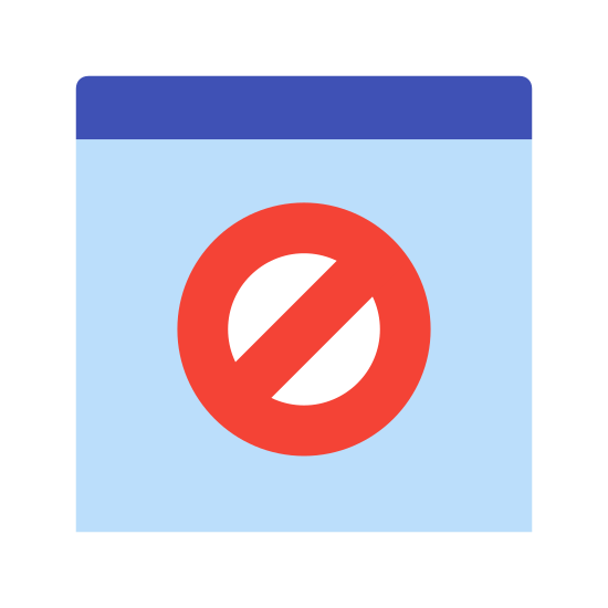Bloqueador de comportamento icon. The icon shows a rectangle with a horizontal line through at the top. Inside the box under the line, there is a circle with a diagonal line inside it going from the top-right of the circle to the bottom-left.