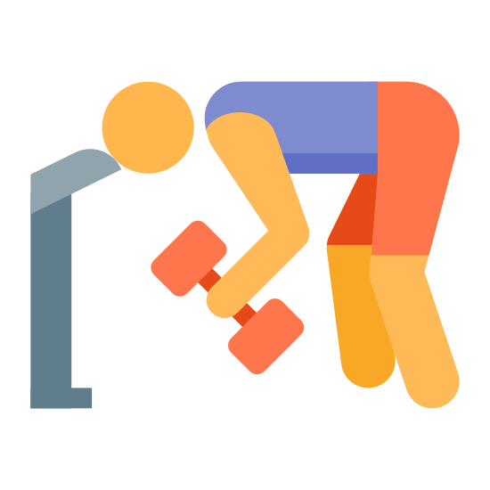 Workout icon. This is a picture of a man bending over with his head near the side of a bench. in his hands is a dumbbell that he is lifting. his back is straight.