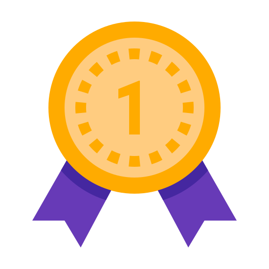 """Superventas icon. This is a picture of an award ribbon for being number one or first place. it has the number """"1"""" with two stars on each side of it. around the inside perimeter of the ribbon are dots"""