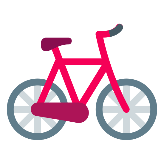 Bicycle icon. This is a black and white outline of a bicycle. The handlebars are on the right side, and the seat is visible on the left.