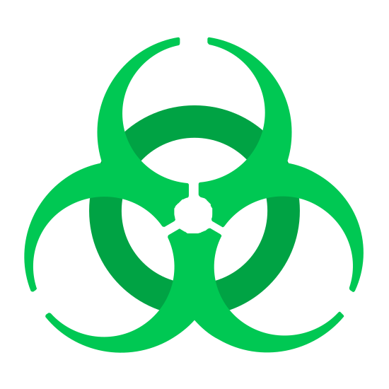 Biohazard icon. It's a closed off circle, like a ring, with an almost flower like shape on top of it. This flower like shape is make of three almost closed off letter c's, which are incomplete circles, at different angles and anchored to the center of the ring beneath them with a single dot.